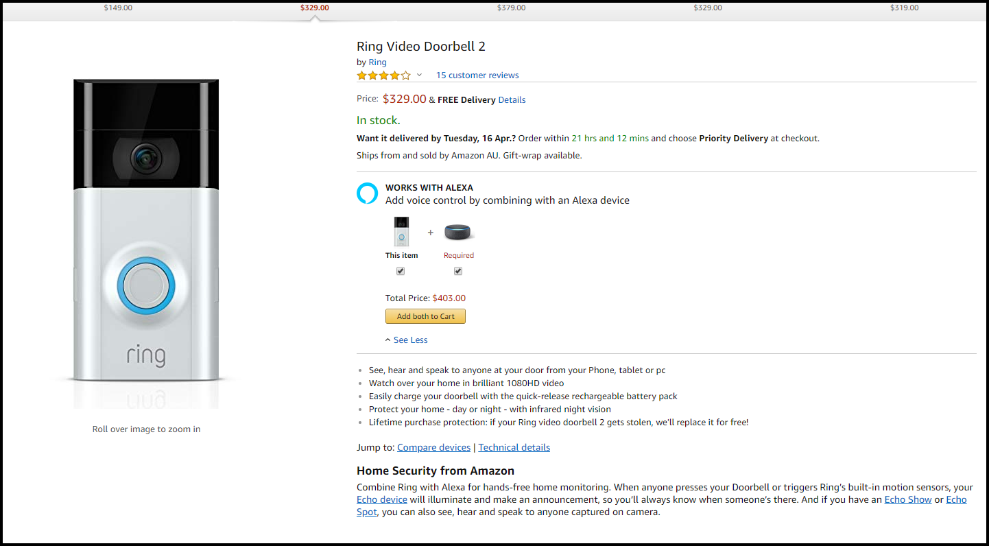 Amazon Ring Doorbell 2 Product Page