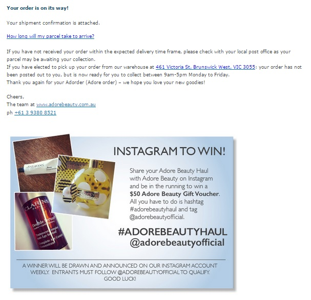 Adore Beauty Social Sharing Prompt