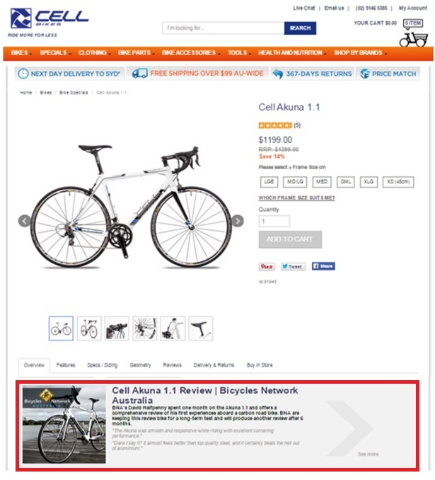 Cell Bikes Product Page Content Marketing