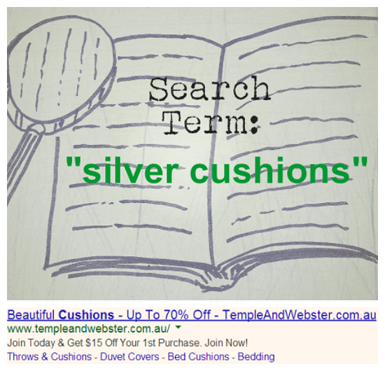 Effective Adwords Ad Example Silver Cushions