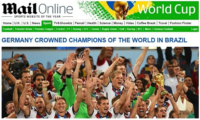 Daily Mail World Cup SEO Hub Page