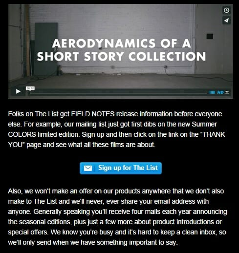 Field Notes Ecommerce Content Marketing