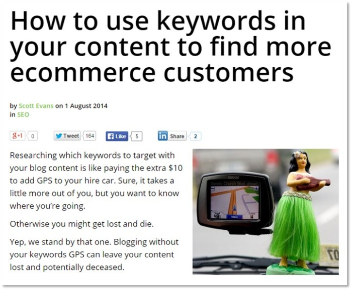 Scott's article on using keywords in your ecommerce content