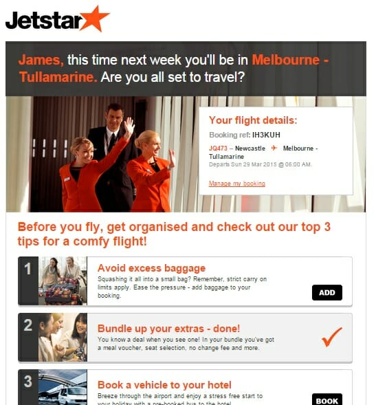 Jetstar post purchase advice email