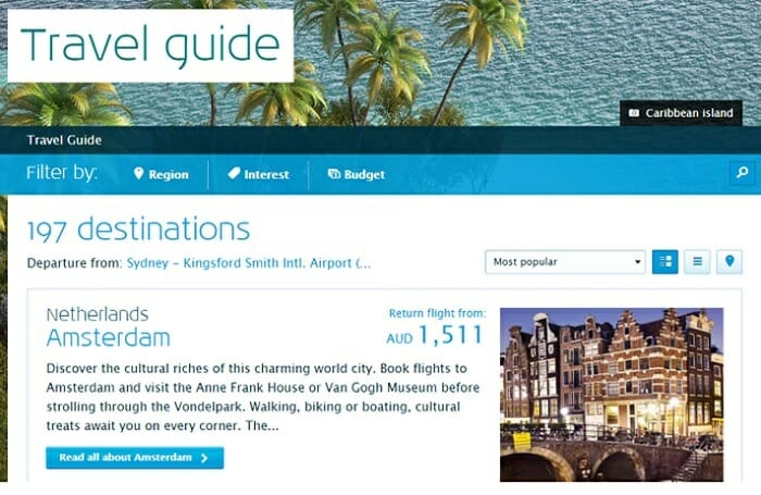 KLM travel guide ecommerce content