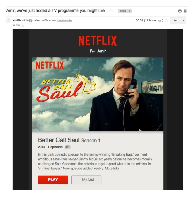 Netflix personalised email suggestions